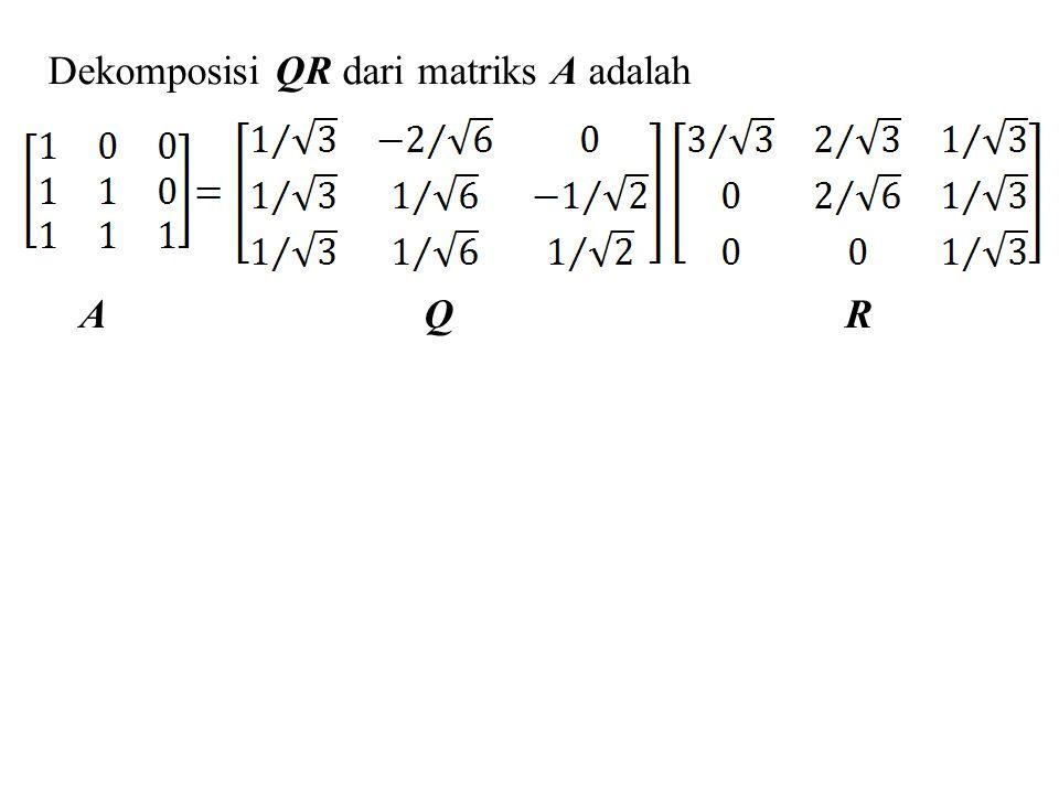 Dekomposisi QR dari matriks A adalah