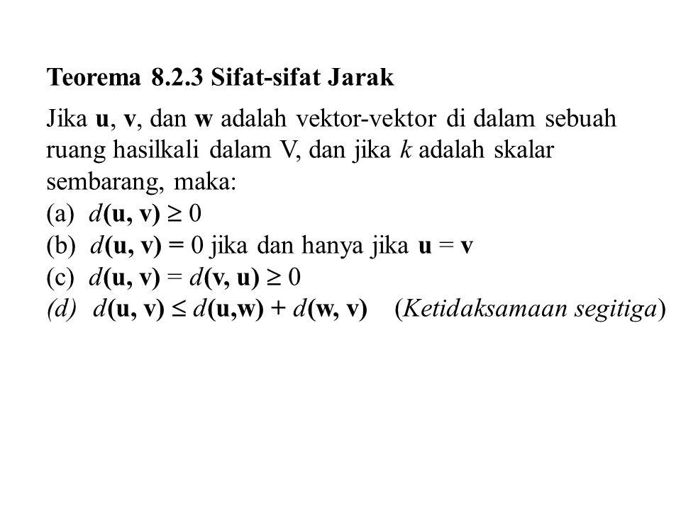 Teorema 8.2.3 Sifat-sifat Jarak