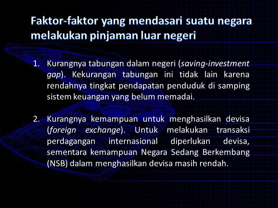Faktor-faktor yang mendasari suatu negara melakukan pinjaman luar negeri