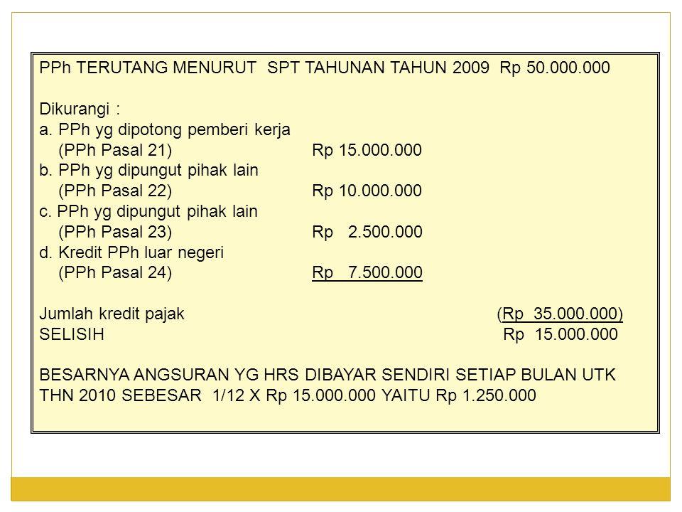 PPh TERUTANG MENURUT SPT TAHUNAN TAHUN 2009 Rp 50.000.000