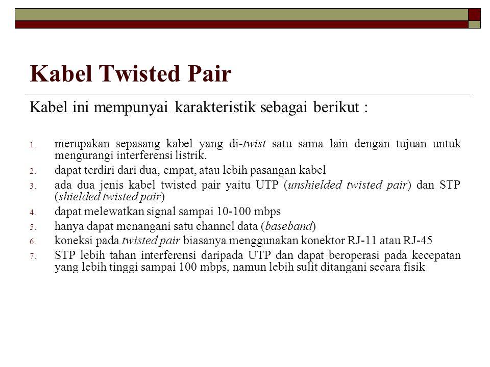 Kabel Twisted Pair Kabel ini mempunyai karakteristik sebagai berikut :