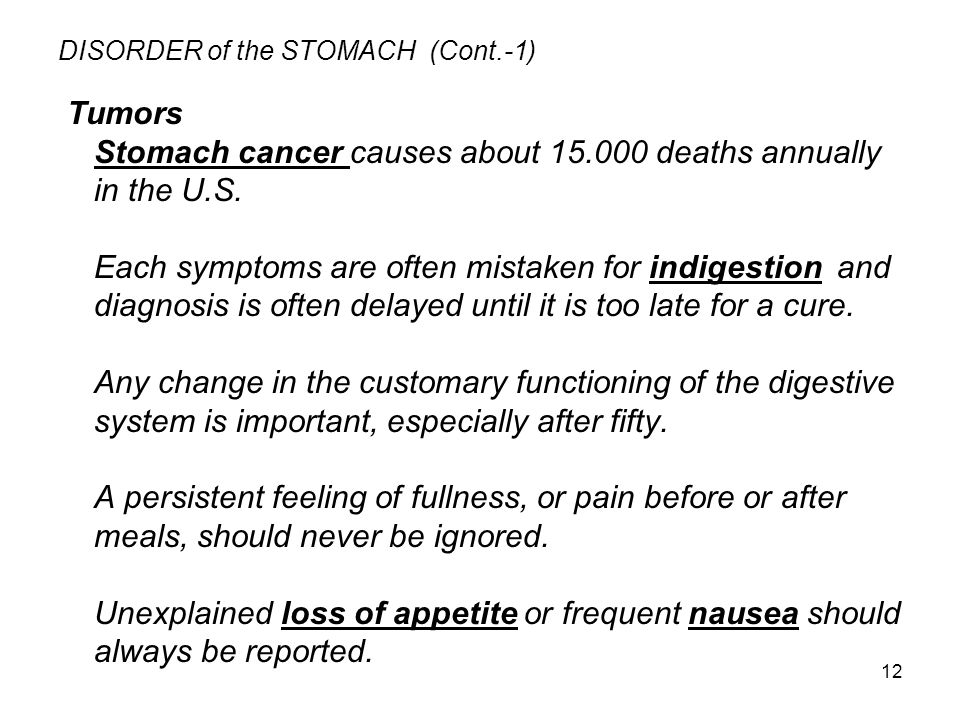 DISORDER of the STOMACH (Cont.-1)