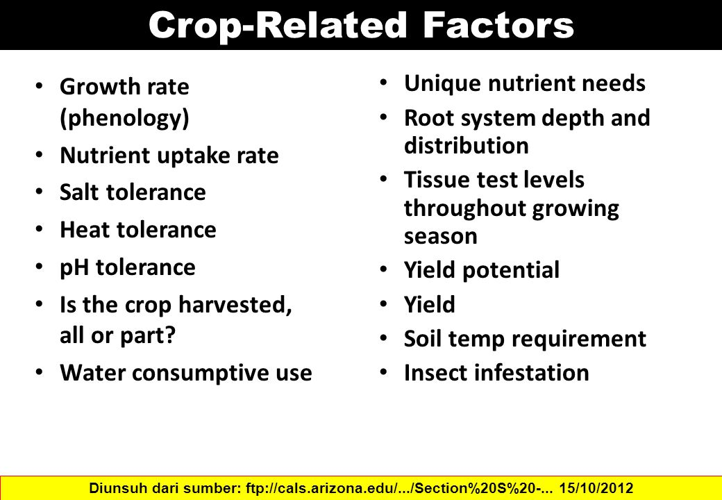 Crop-Related Factors Growth rate (phenology) Nutrient uptake rate