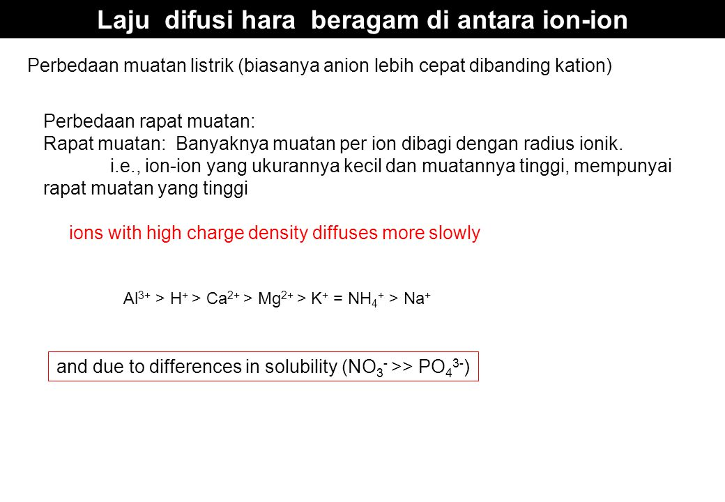 Laju difusi hara beragam di antara ion-ion