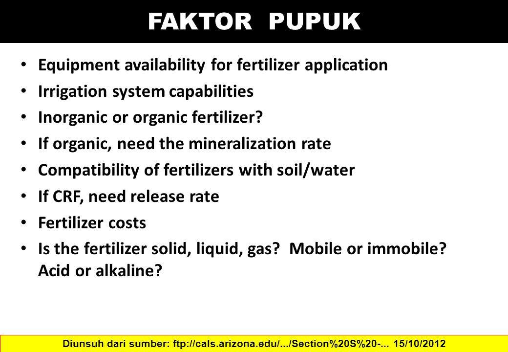 FAKTOR PUPUK Equipment availability for fertilizer application