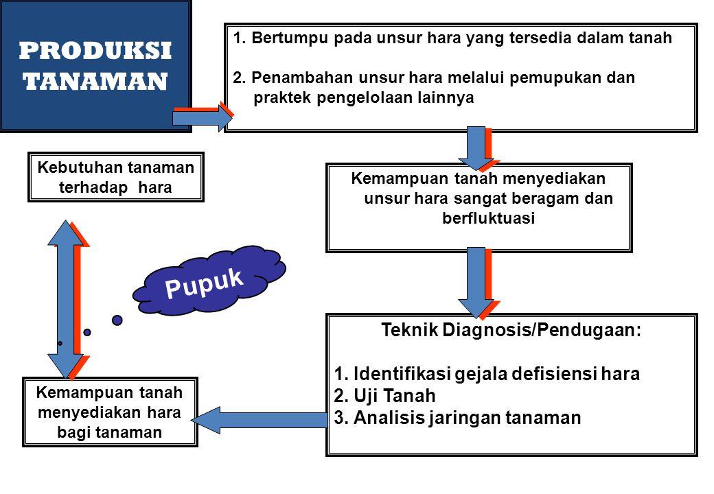 PRODUKSI TANAMAN Pupuk Teknik Diagnosis/Pendugaan: