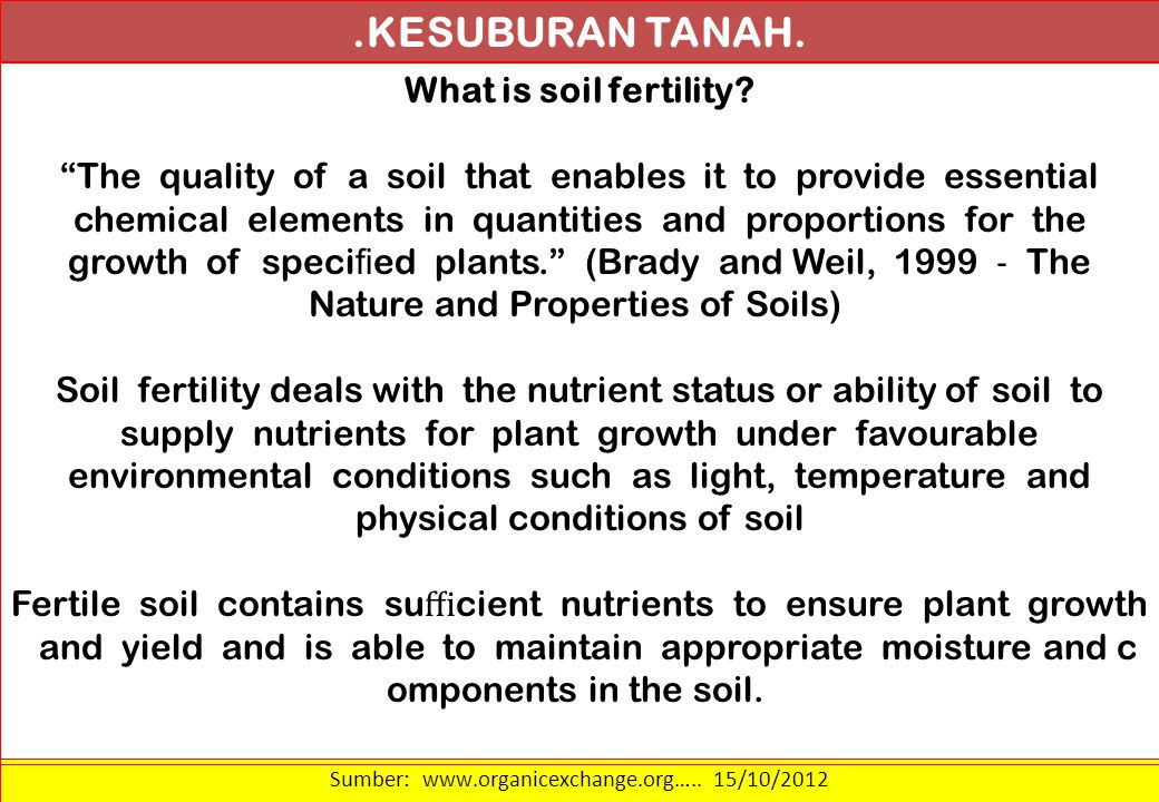 .KESUBURAN TANAH. What is soil fertility