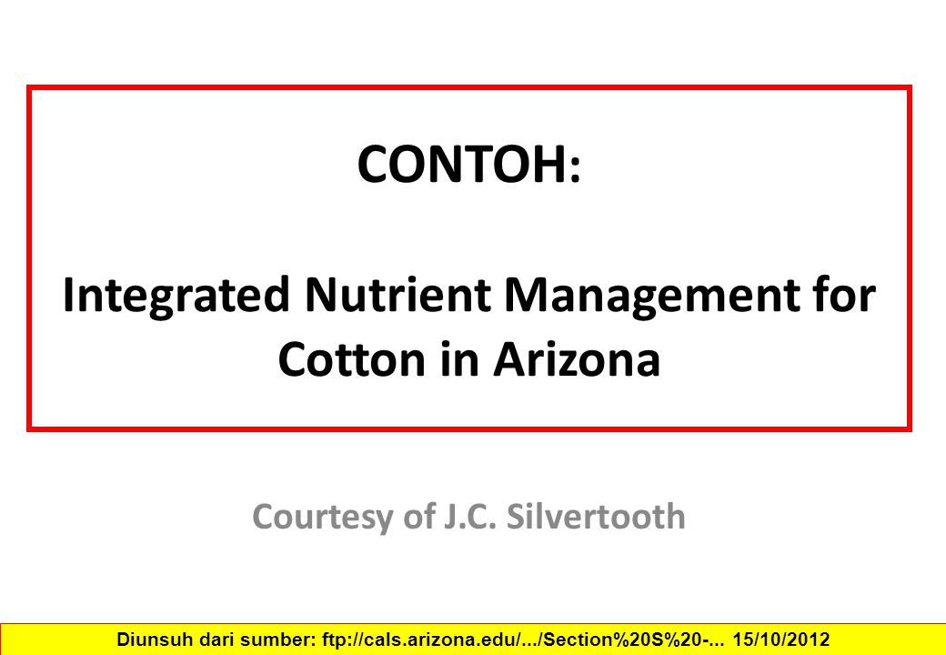 CONTOH: Integrated Nutrient Management for Cotton in Arizona