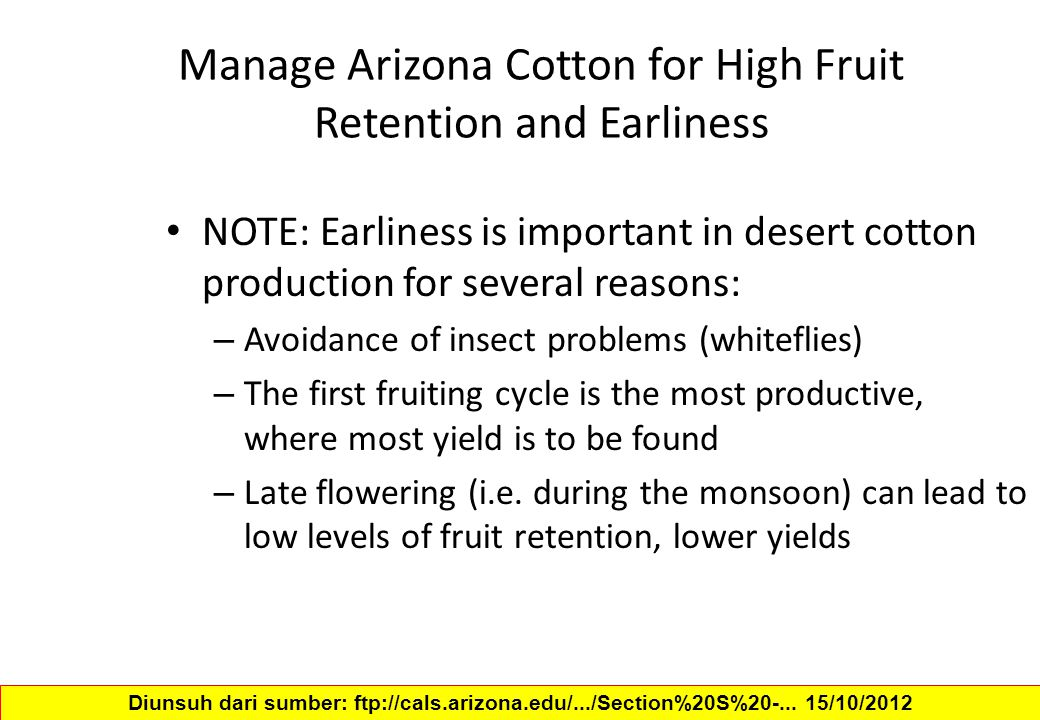 Manage Arizona Cotton for High Fruit Retention and Earliness