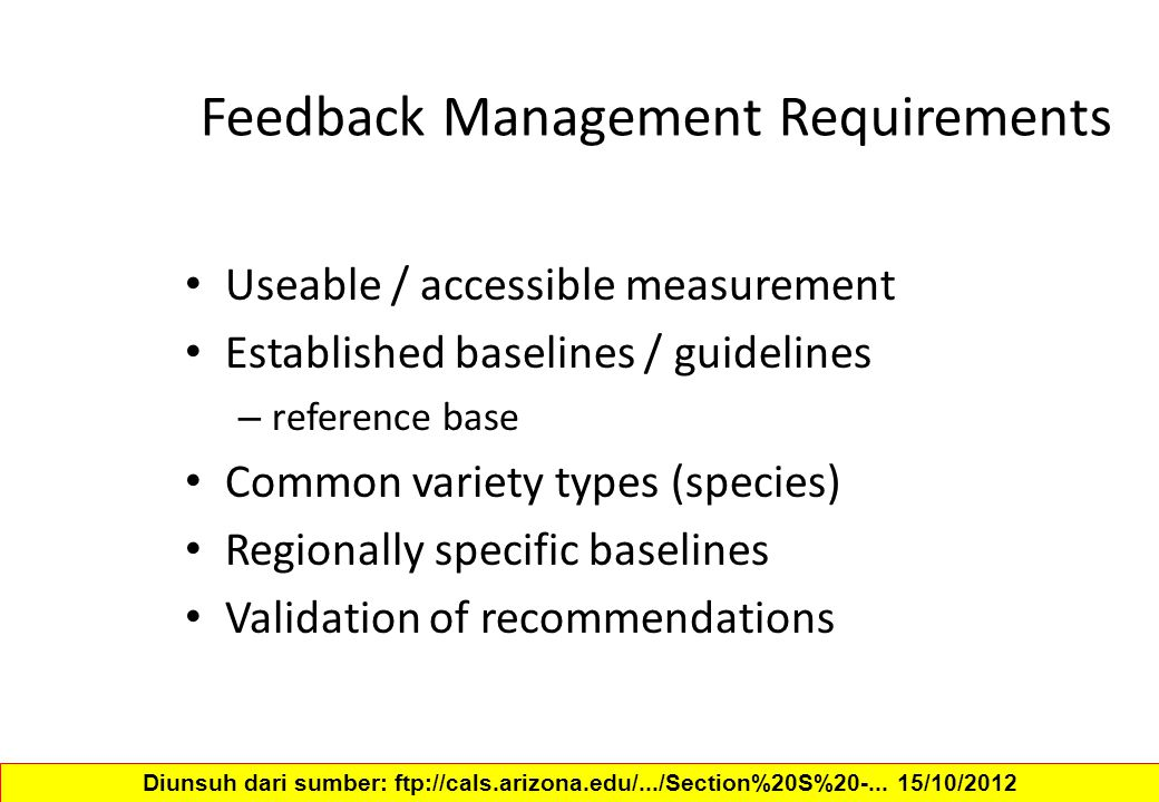 Feedback Management Requirements