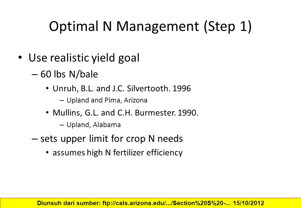Optimal N Management (Step 1)