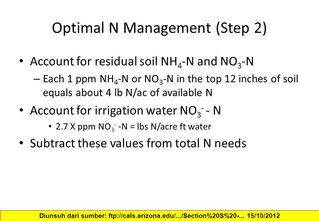 Optimal N Management (Step 2)