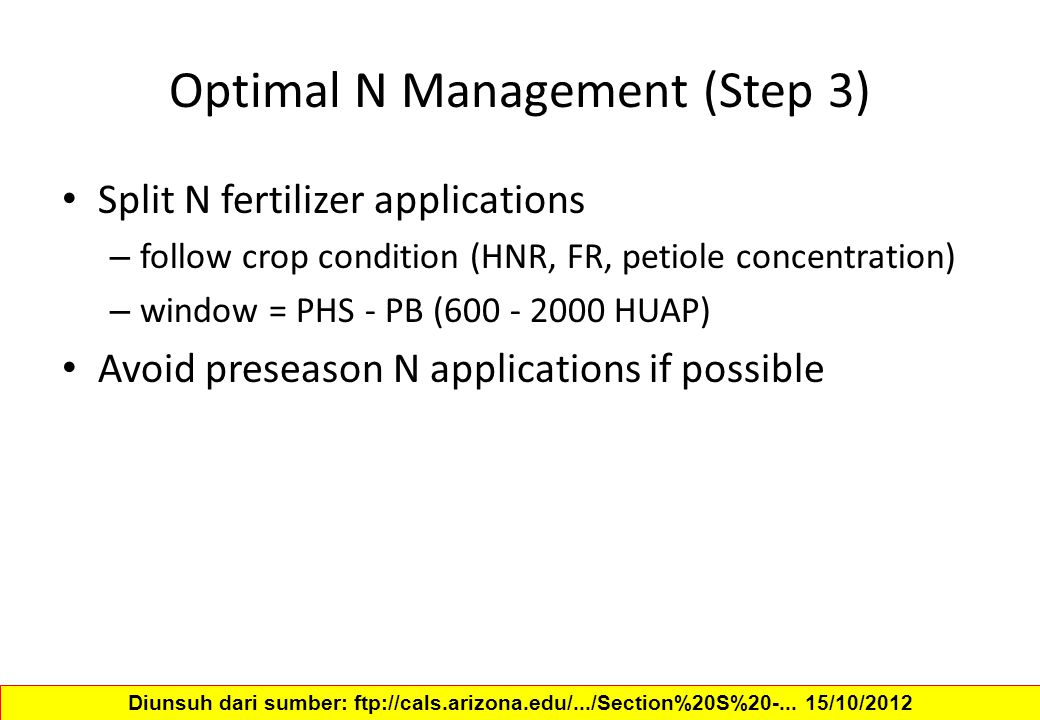 Optimal N Management (Step 3)