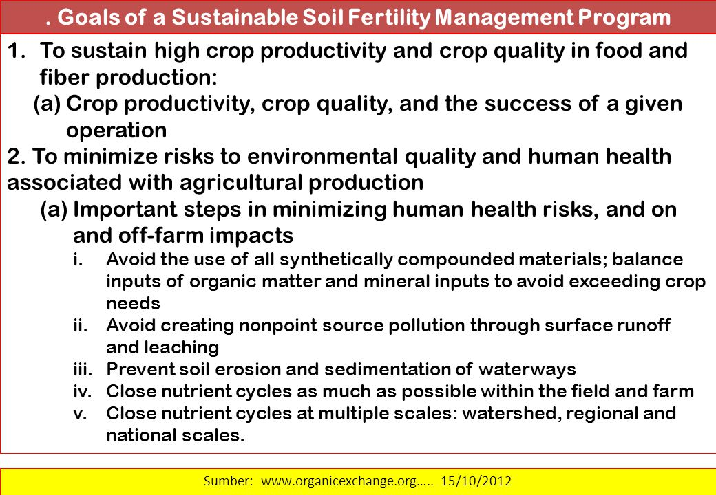 . Goals of a Sustainable Soil Fertility Management Program