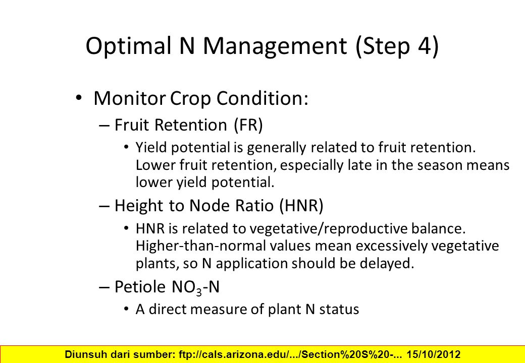 Optimal N Management (Step 4)