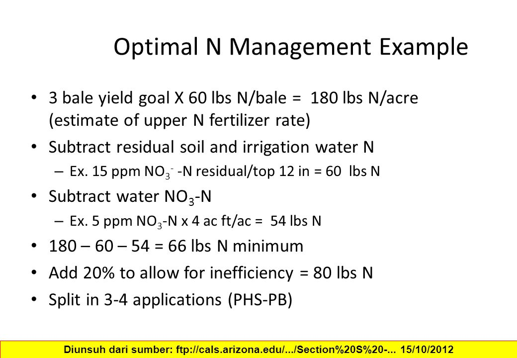 Optimal N Management Example