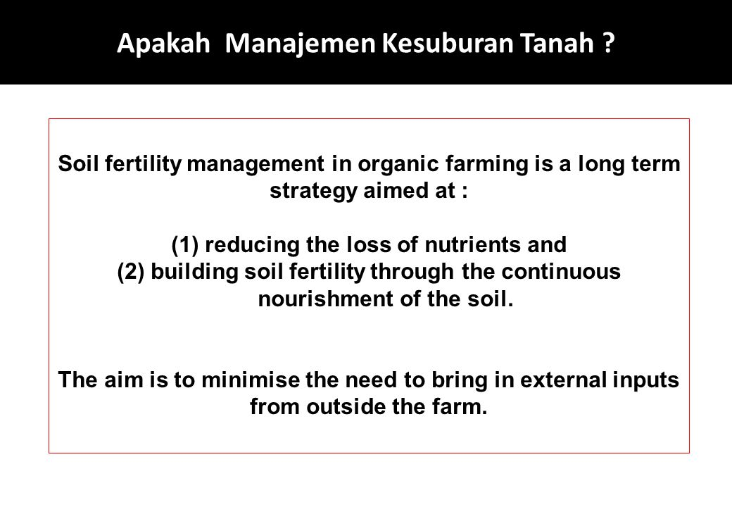 Apakah Manajemen Kesuburan Tanah