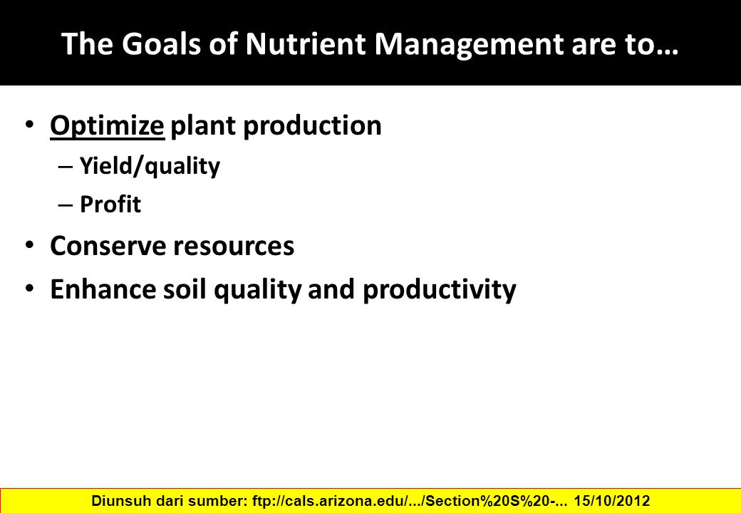 The Goals of Nutrient Management are to…