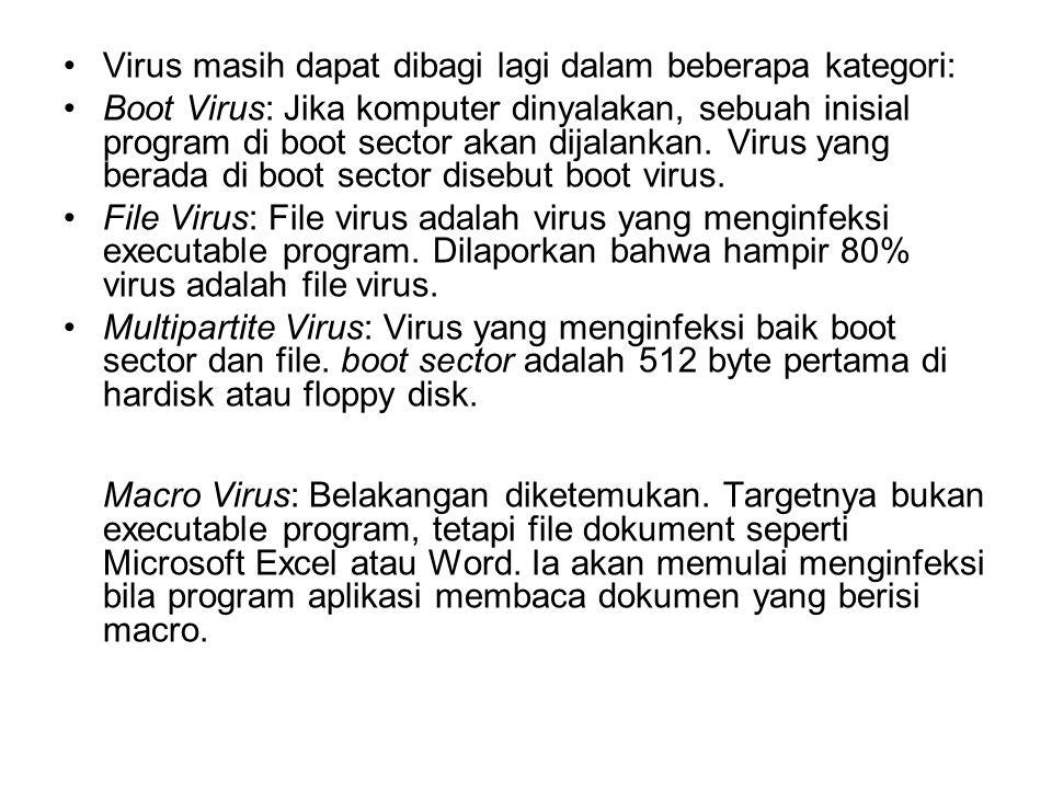 Virus masih dapat dibagi lagi dalam beberapa kategori: