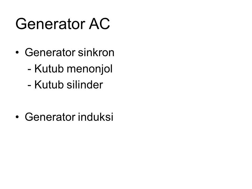 Generator AC Generator sinkron - Kutub menonjol - Kutub silinder