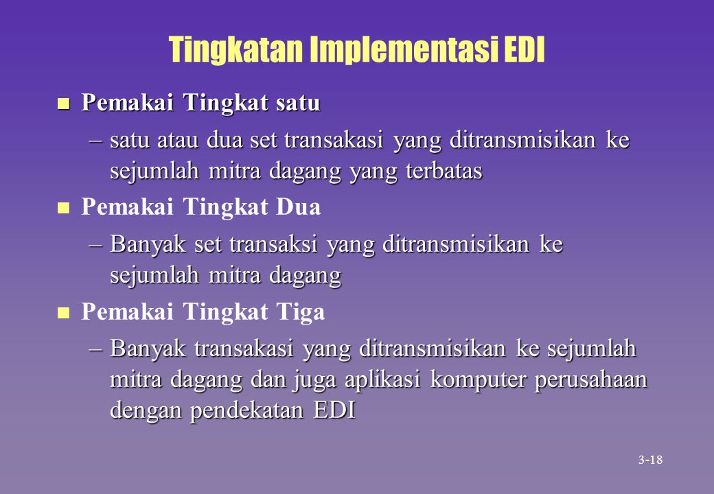 Tingkatan Implementasi EDI