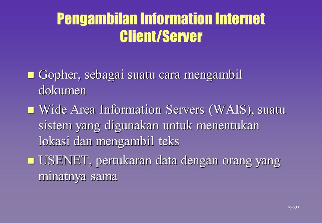 Pengambilan Information Internet Client/Server