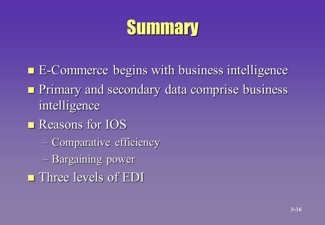 Summary E-Commerce begins with business intelligence