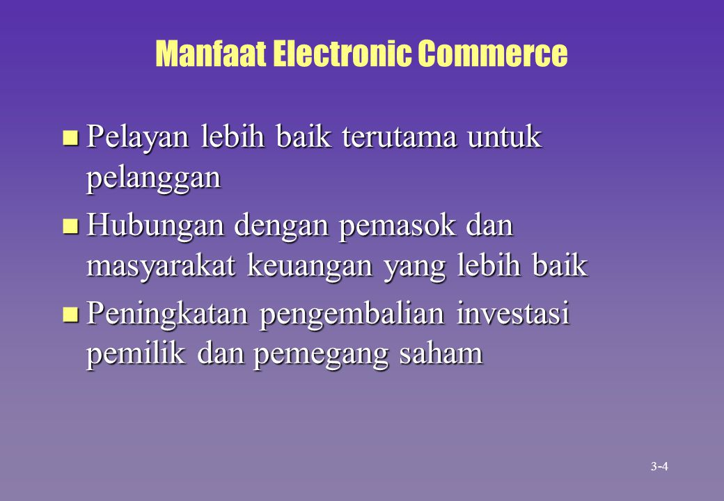 Manfaat Electronic Commerce