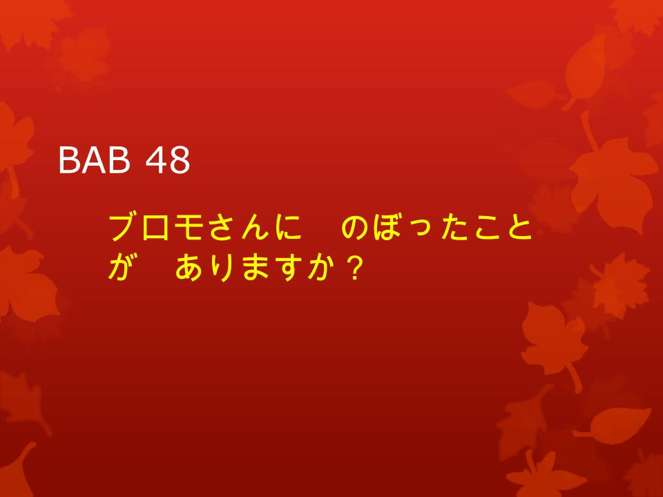 BAB 48 ブロモさんに のぼったこと が ありますか?