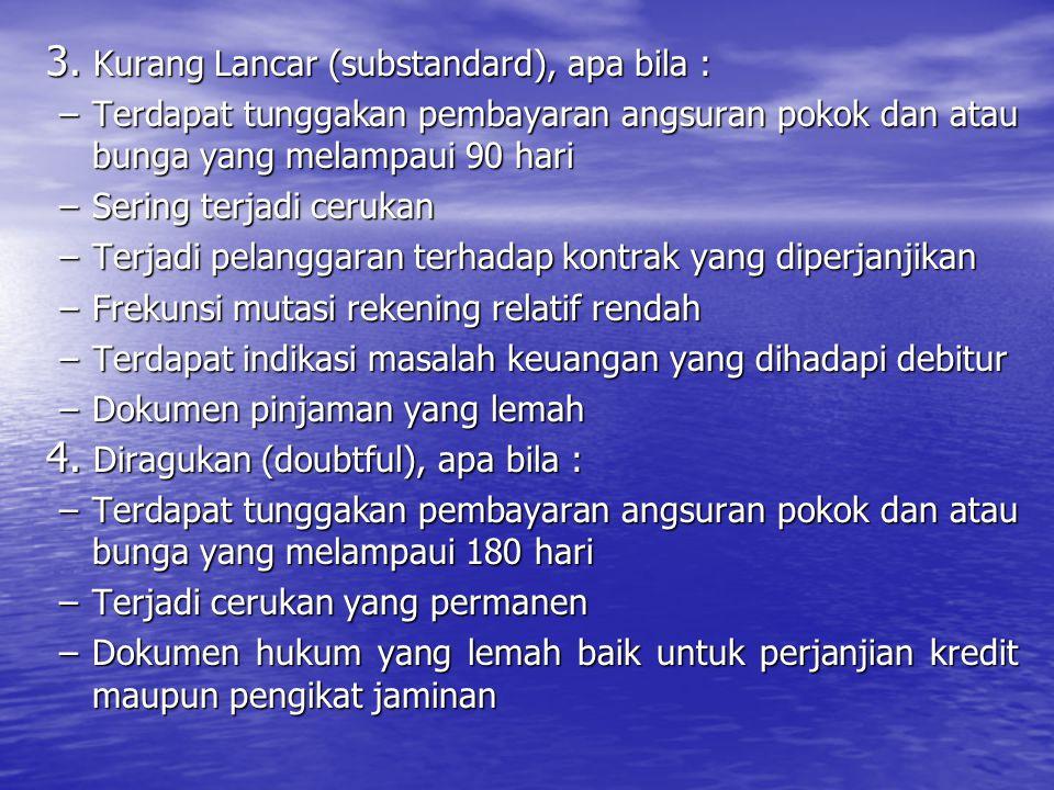 Kurang Lancar (substandard), apa bila :