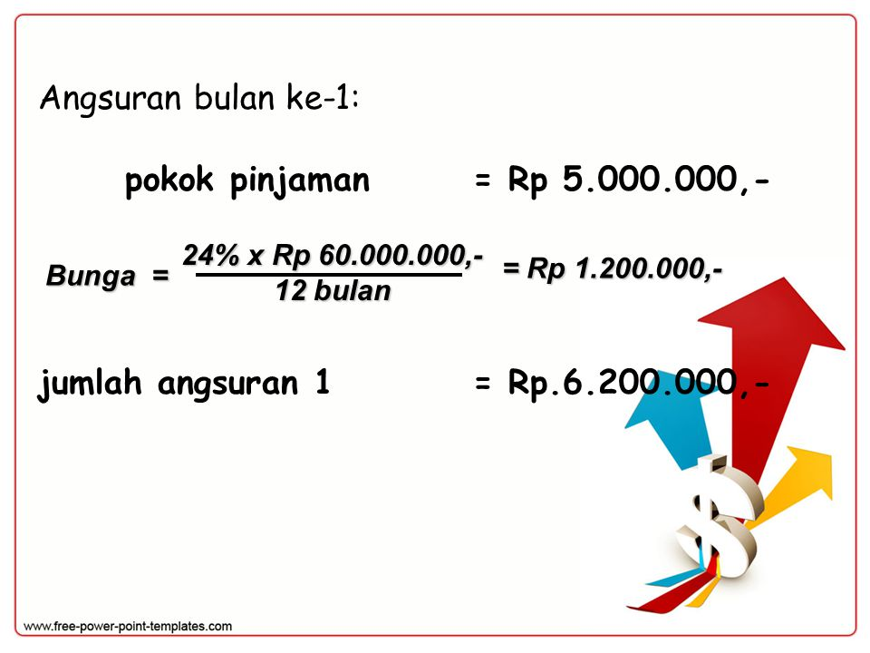 Angsuran bulan ke-1: pokok pinjaman = Rp 5.000.000,-