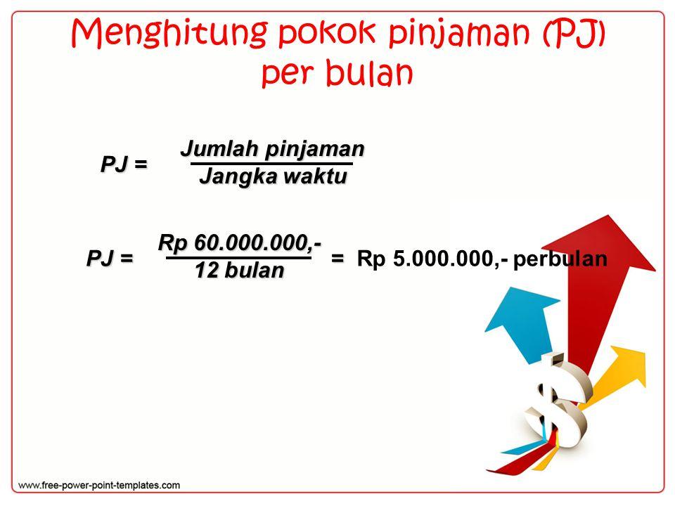 Menghitung pokok pinjaman (PJ) per bulan