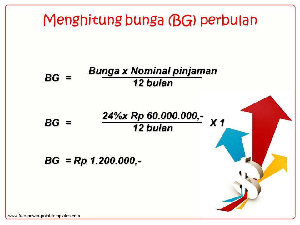 Menghitung bunga (BG) perbulan