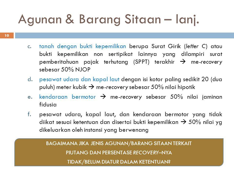 Agunan & Barang Sitaan – lanj.