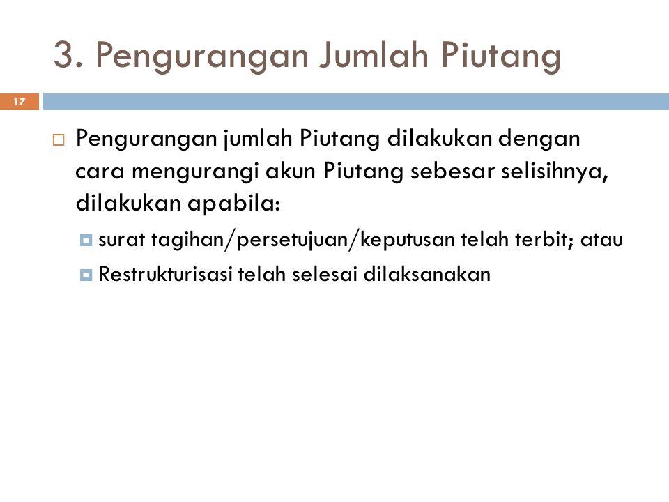 3. Pengurangan Jumlah Piutang
