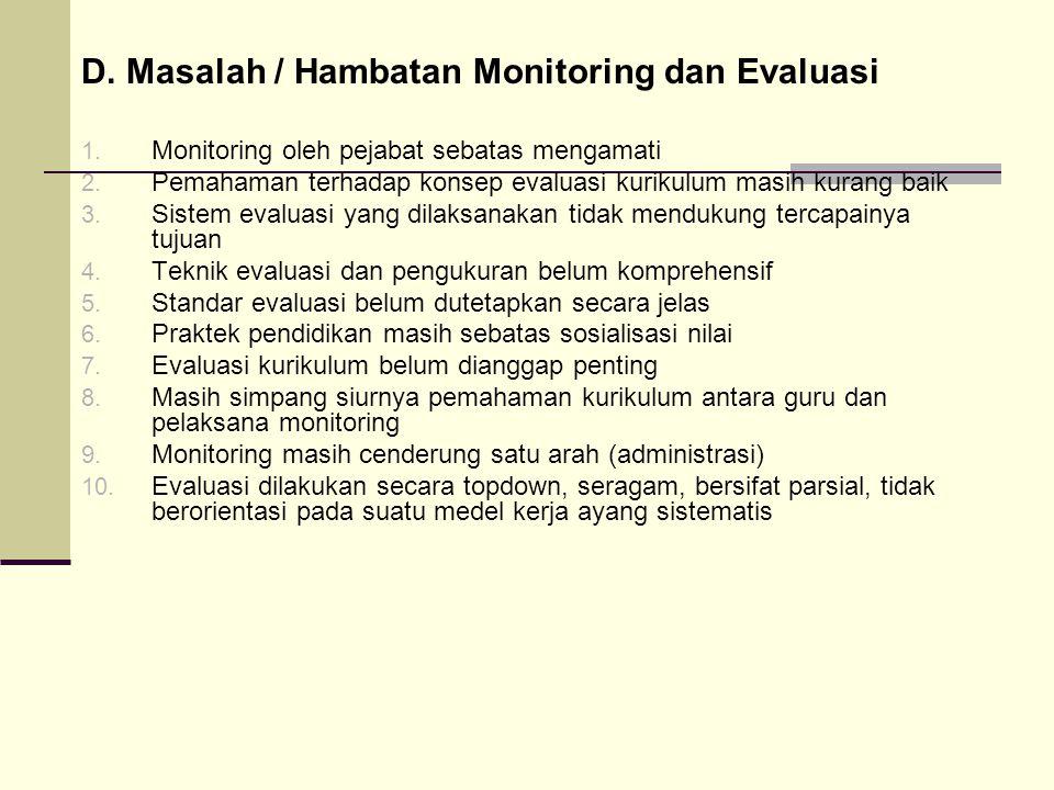 D. Masalah / Hambatan Monitoring dan Evaluasi