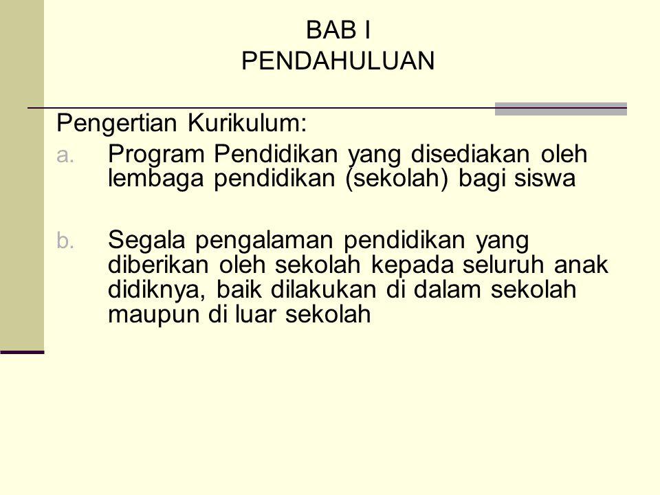 BAB I PENDAHULUAN. Pengertian Kurikulum: Program Pendidikan yang disediakan oleh lembaga pendidikan (sekolah) bagi siswa.