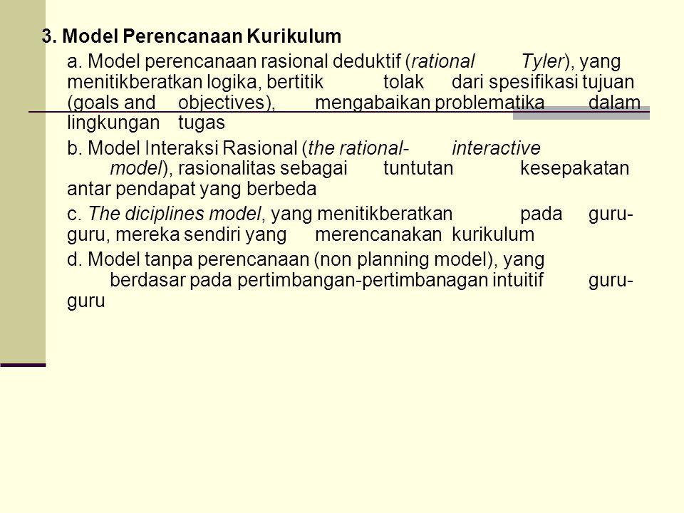 3. Model Perencanaan Kurikulum