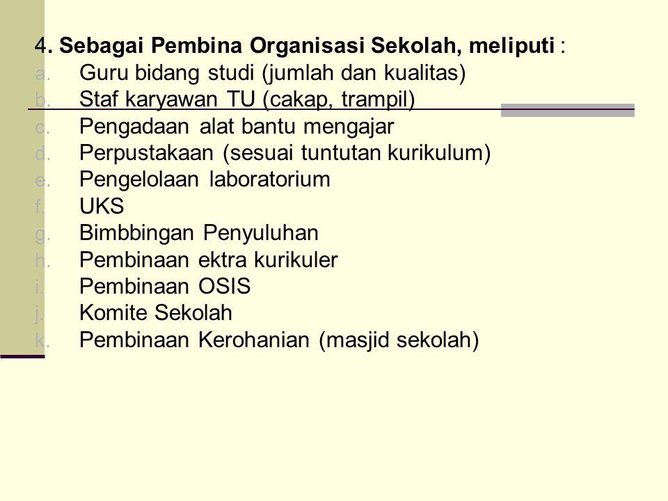 4. Sebagai Pembina Organisasi Sekolah, meliputi :