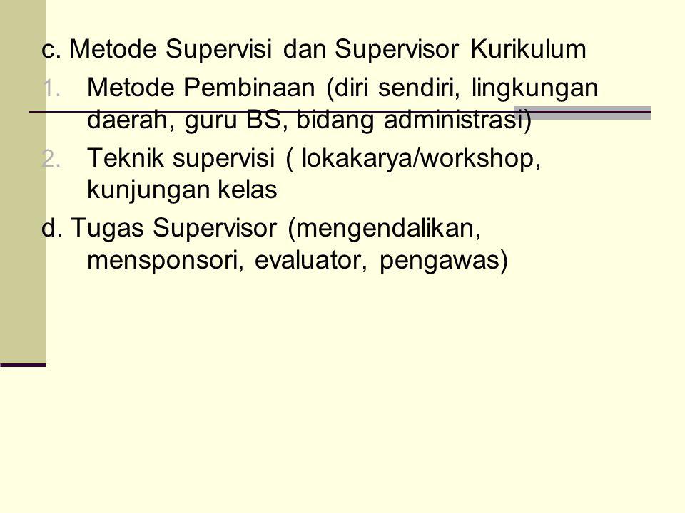 c. Metode Supervisi dan Supervisor Kurikulum