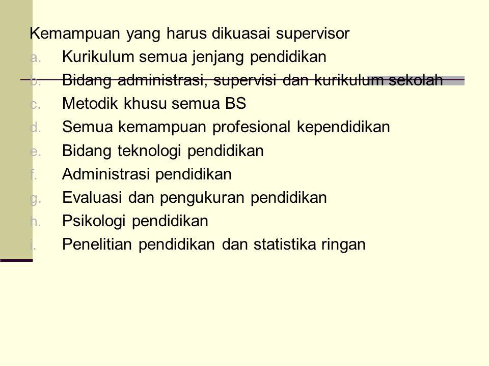 Kemampuan yang harus dikuasai supervisor
