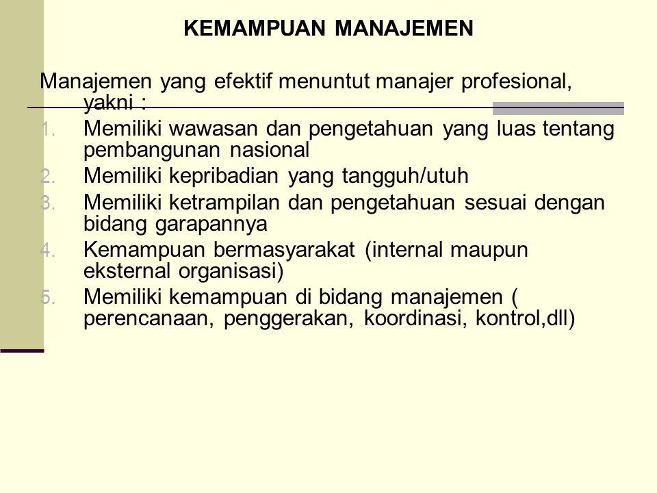 KEMAMPUAN MANAJEMEN Manajemen yang efektif menuntut manajer profesional, yakni :