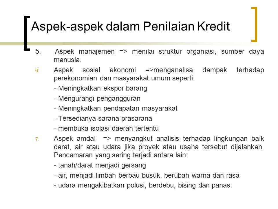 Aspek-aspek dalam Penilaian Kredit