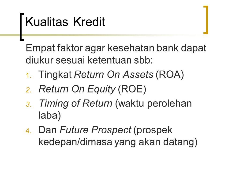 Kualitas Kredit Empat faktor agar kesehatan bank dapat diukur sesuai ketentuan sbb: Tingkat Return On Assets (ROA)