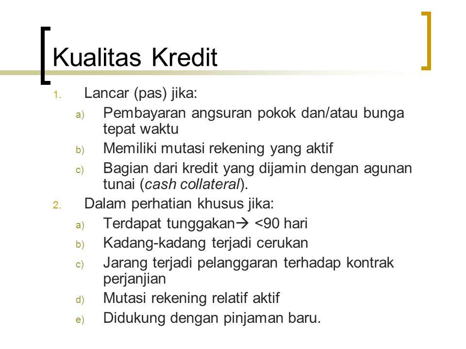 Kualitas Kredit Lancar (pas) jika: