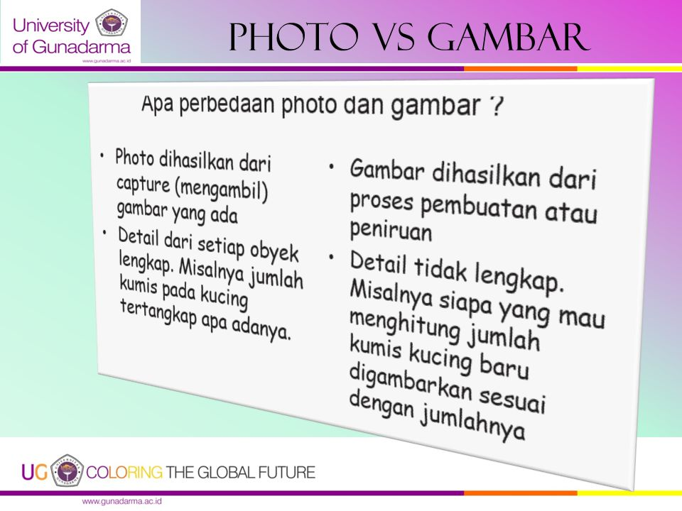 Photo vs gambar