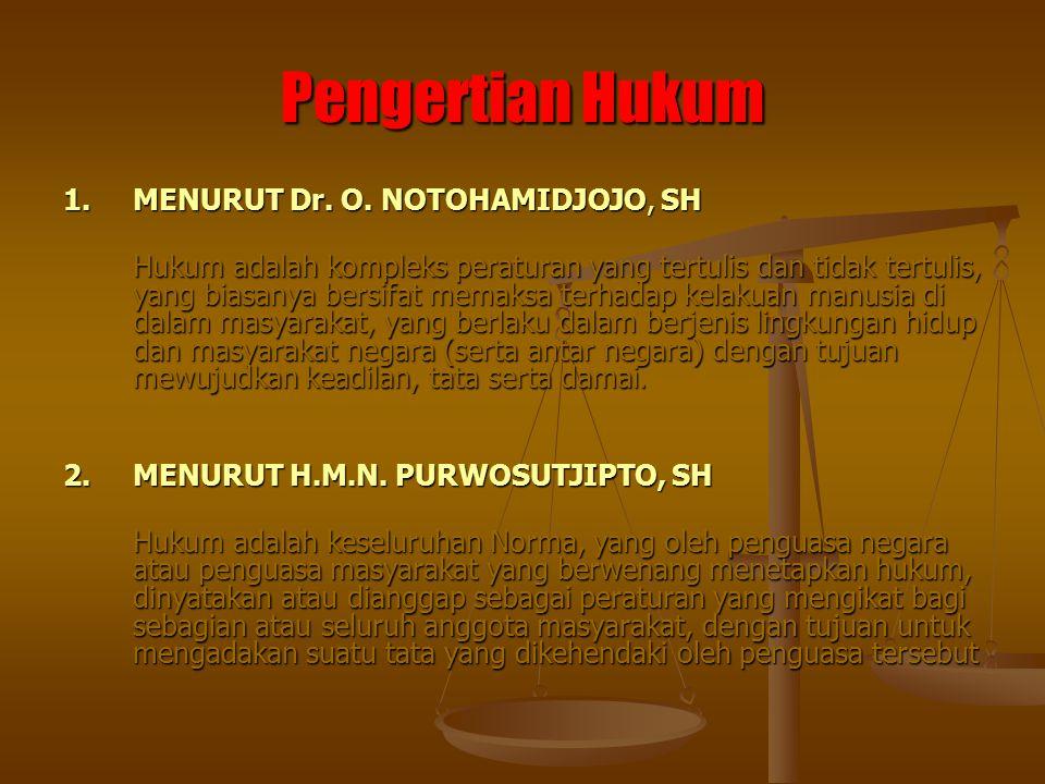 Pengertian Hukum 1. MENURUT Dr. O. NOTOHAMIDJOJO, SH