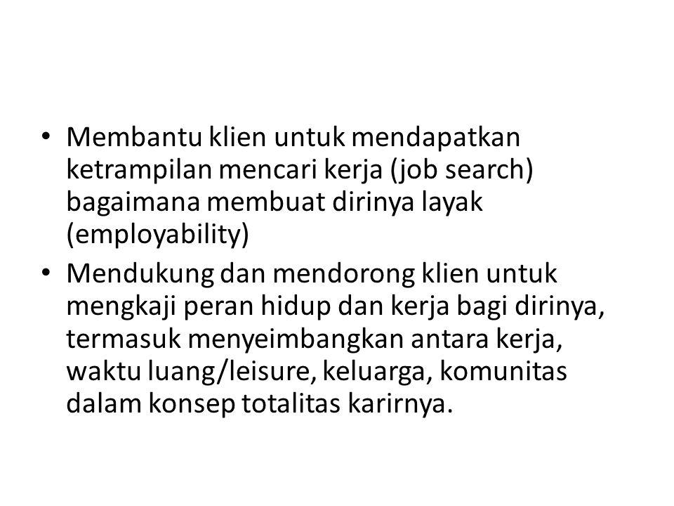 Membantu klien untuk mendapatkan ketrampilan mencari kerja (job search) bagaimana membuat dirinya layak (employability)