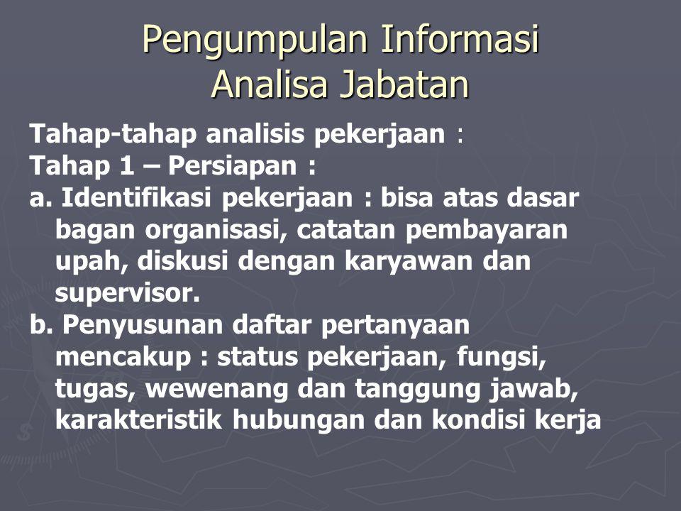 Pengumpulan Informasi Analisa Jabatan