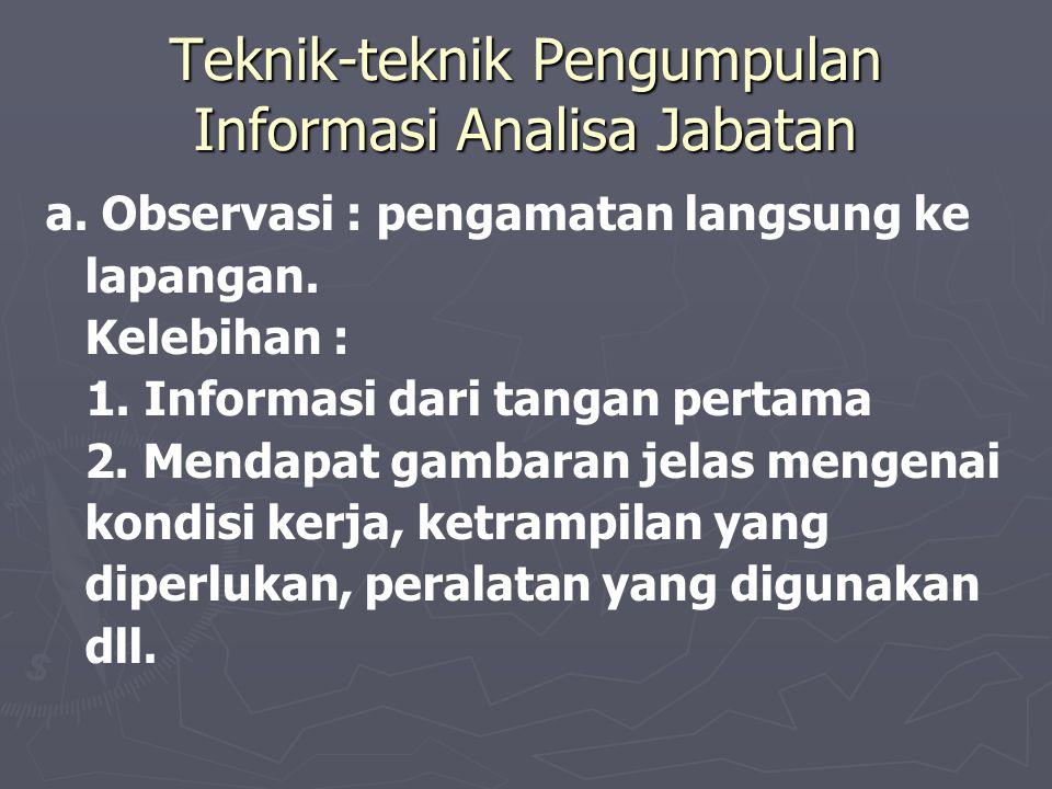 Teknik-teknik Pengumpulan Informasi Analisa Jabatan
